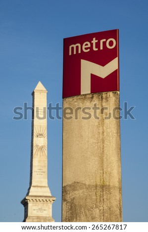 LISBON/PORTUGAL 17TH DECEMBER 2006 Lisbon Metro Sign - stock photo