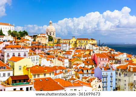 Lisbon, Portugal town skyline at the Alfama. - stock photo