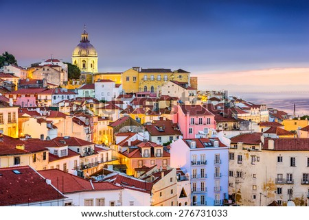 Lisbon, Portugal twilight cityscape at the Alfama District. - stock photo