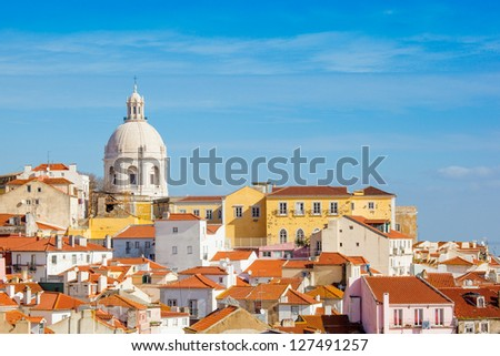 Lisbon, the church of Santa Engracia from the Santa Luzia viewing point - stock photo