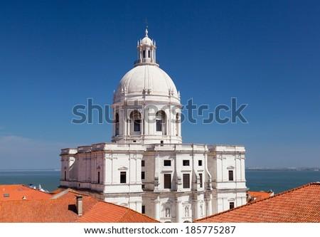 Lisbon, view of Alfam's region and Santa Engrassiya's (Pantheon) church - stock photo
