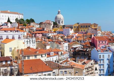 Lisbon, view of Alfam's region and Santa Engrassiya's (Pantheon) church. - stock photo