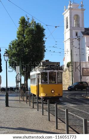 Lisbon yellow tram, Portugal - stock photo