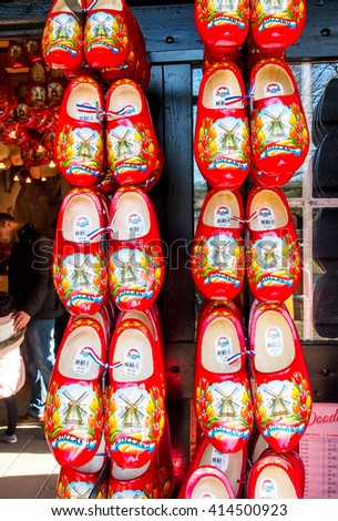 LISSE, NETHERLANDS - APR 10, 2016: Clogs in souvenir shop in Keukenhof garden. Dutch's style clog associated with whole foot style is famous souvenir from Netherlands.  - stock photo