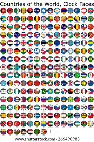 List of countries in the world, national flags set on a clock face, so you can set the time you want. - stock photo
