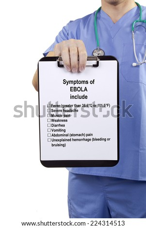 List of symptoms of Ebola include the hands of doctor. - stock photo