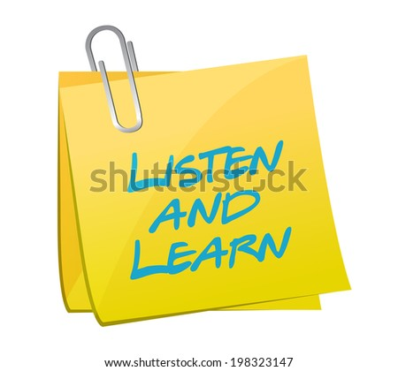 listen and learn post post book illustration design over a white background - stock photo