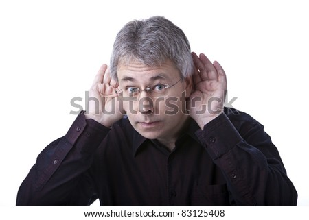 Listening man - stock photo