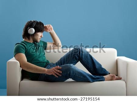 Listening music - stock photo