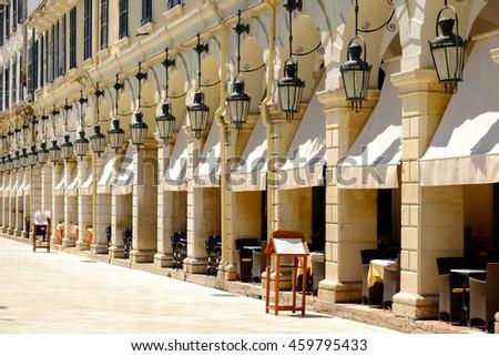 Liston Promenade, Corfu - stock photo
