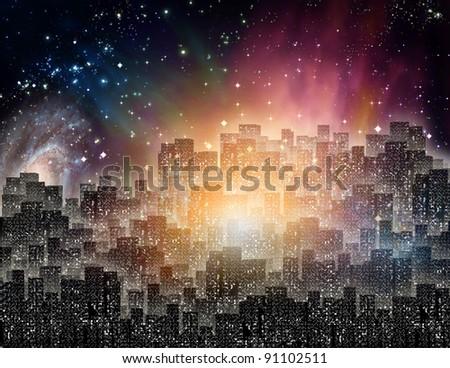 Lit city at night - stock photo