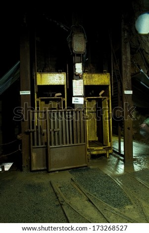 lit corridor at the bottom of the minerals - stock photo