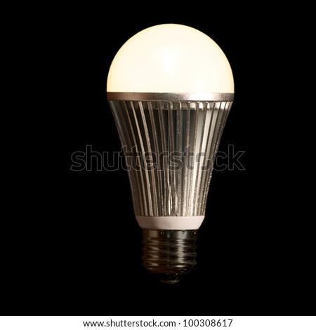 Lit LED Light Bulb - stock photo