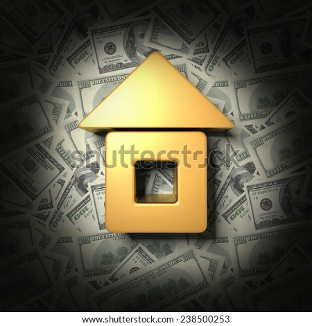 Lit the house on the background of dollars - stock photo