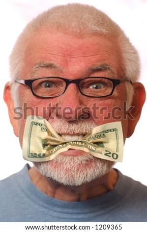 Literal Expression: Put your money where your mouth is - stock photo