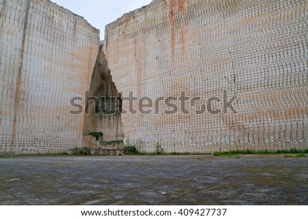 Lithica quarry in Menorca, a sandstone block production place since prehistory. - stock photo