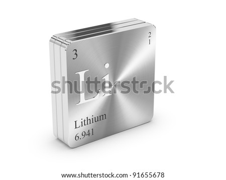 Lithium - element of the periodic table on metal steel block - stock photo