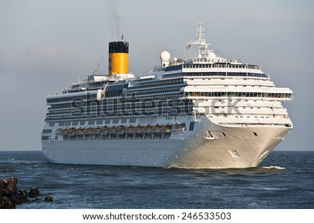 LITHUANIA- AUG 17: cruise liner in the Baltic sea on August,2012 in Lithuania. - stock photo