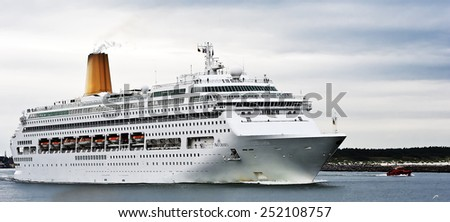 LITHUANIA_AUG 13:cruise liner ORIANA in port on August 13,2012 in Klaipeda, Lithuania. - stock photo