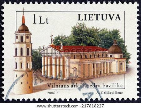 """LITHUANIA - CIRCA 2006: A stamp printed in Lithuania from the """"Lithuanian Churches """" issue shows Vilnius cathedral basilica, circa 2006.  - stock photo"""