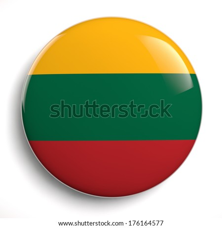 Lithuania flag icon. Clipping path included. - stock photo