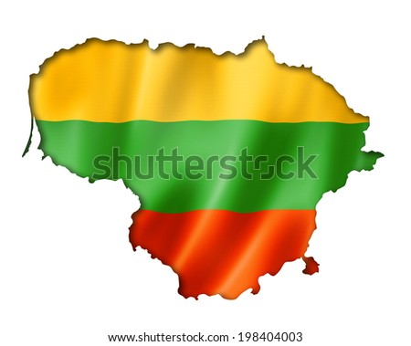 Lithuania flag map, three dimensional render, isolated on white - stock photo