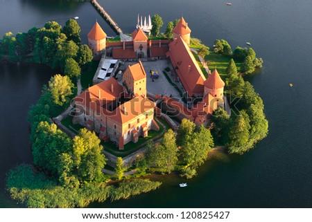 Lithuania from above (Trakai castle) - stock photo