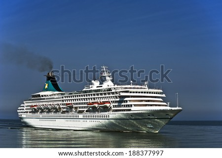 LITHUANIA - JULY 07: Cruise liner SEVEN SEAS VOYAGER in Baltic Sea on July 07, 2013 , Lithuania.  - stock photo