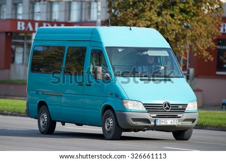 LITHUANIA - OCT 12: Mercedes Sprinter Van on Oct. 12, 2015 in Lithuania. The Sprinter is a vehicle built by Daimler AG of Stuttgart, Germany as a van, chassis cab, minibus, and pickup truck. - stock photo