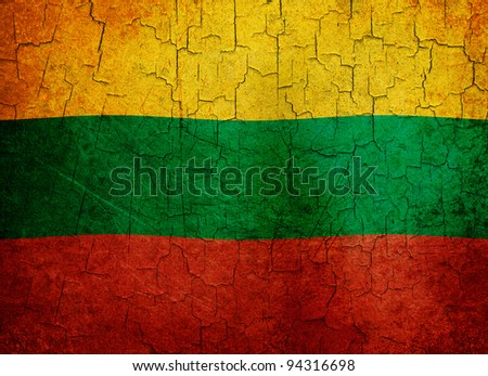 Lithuanian flag on a cracked grunge background - stock photo