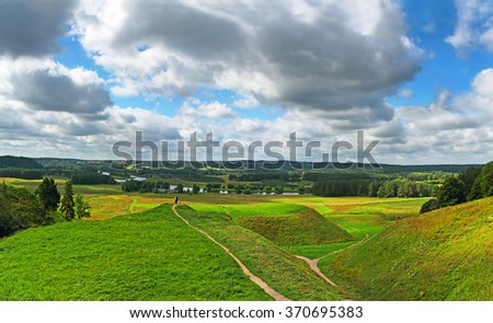Lithuanian historic capital Kernave, (Cultural Reserve of Kernave) Lithuania, UNESCO World Heritage Site. The Kernave represents to some 10 millennia of human settlements in this region. - stock photo