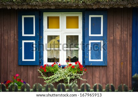 Lithuanian Resort - Pervalka, Nida, Lithuania, Europe. Traditional fisherman's house in Pervalka, Nida, Lithuania.  - stock photo