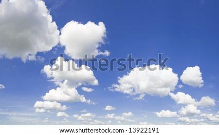 Lithuanian sky background. Blue cloudy sky background - stock photo