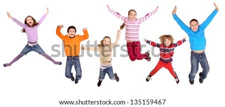litte kids jumping isolated in white - stock photo