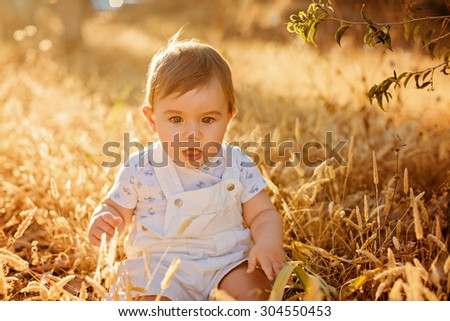 Little adorable chubby baby boy sitting in a white jumpsuit in the field in the spikelets in the warm rays of the setting sun in the summer - stock photo