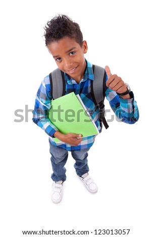 Little african american boy making thumbs up sign, isolated on white background - stock photo