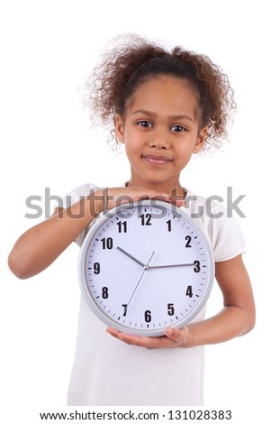 Little african asian girl holding a  clock, isolated on white background - stock photo
