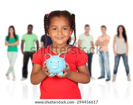 Little afroamerican girl with money box and young casual people of background unfocused - stock photo