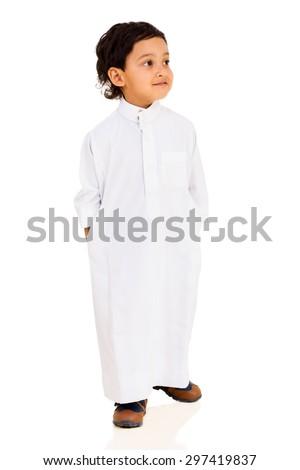 little arabian boy isolated on white background - stock photo