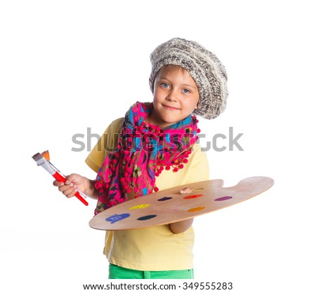 Little artist. Cute boy with watercolor painting and palette, isolated on white background - stock photo