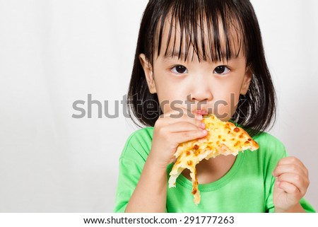 Little Asain Chinese Eating Pizza in white background - stock photo