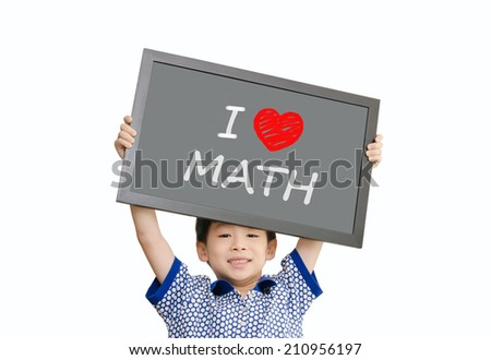 """Little Asian boy holding chalkboard with message """"I love Math"""" - stock photo"""