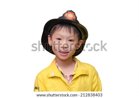 little Asian boy in firefighter uniform, isolated on white  - stock photo