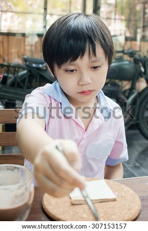 little asian boy is crying - stock photo