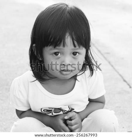 Little asian girl - instagram filter - stock photo