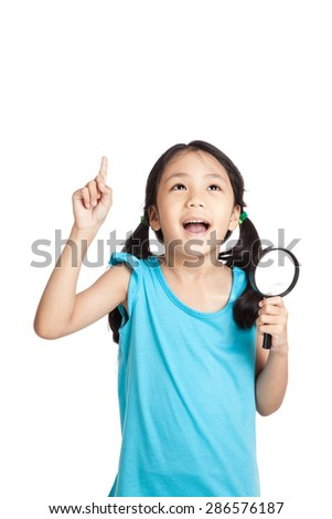 Little asian girl point up with magnifying glass  isolated on white background - stock photo