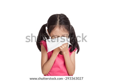 Little asian girl sneeze with napkin paper  isolated on white background - stock photo
