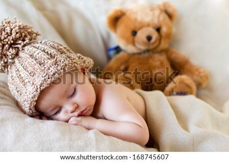 Little baby boy, sleeping - stock photo