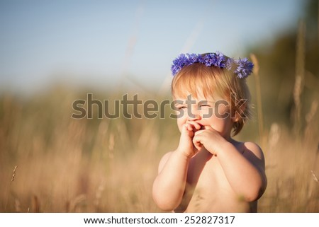 little baby girl plays on the field with tall grass. It is blond child with blue eyes and wreath of cornflowers on her head - stock photo