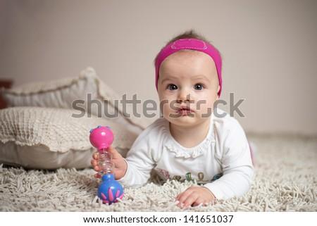 Little baby girl portrait - stock photo